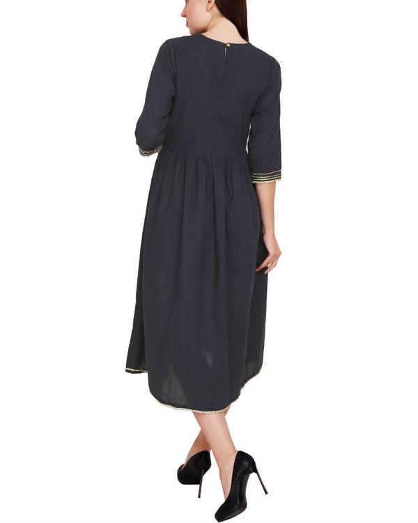 Navy blue gathered dress 2