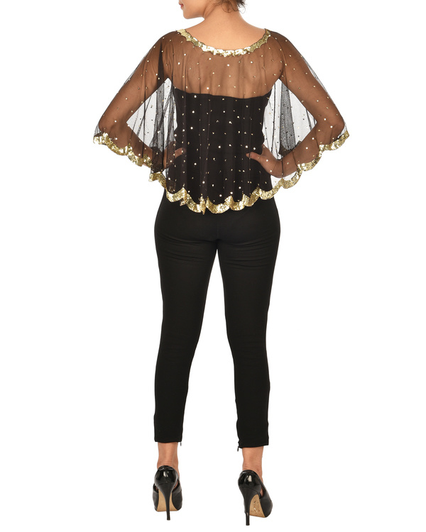 Black net cape with golden sequins 1