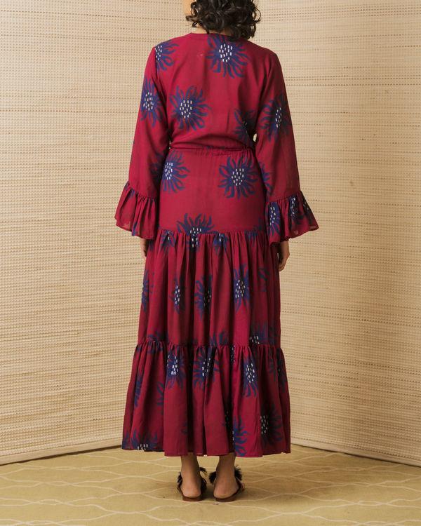 Maroon anemone tiered dress 1