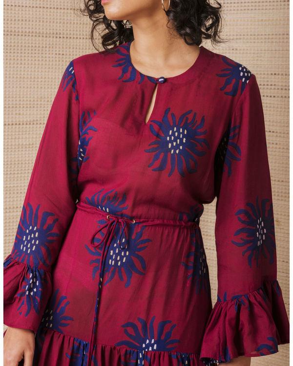 Maroon anemone tiered dress 2