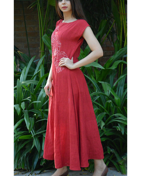Red monstera maxi dress 2