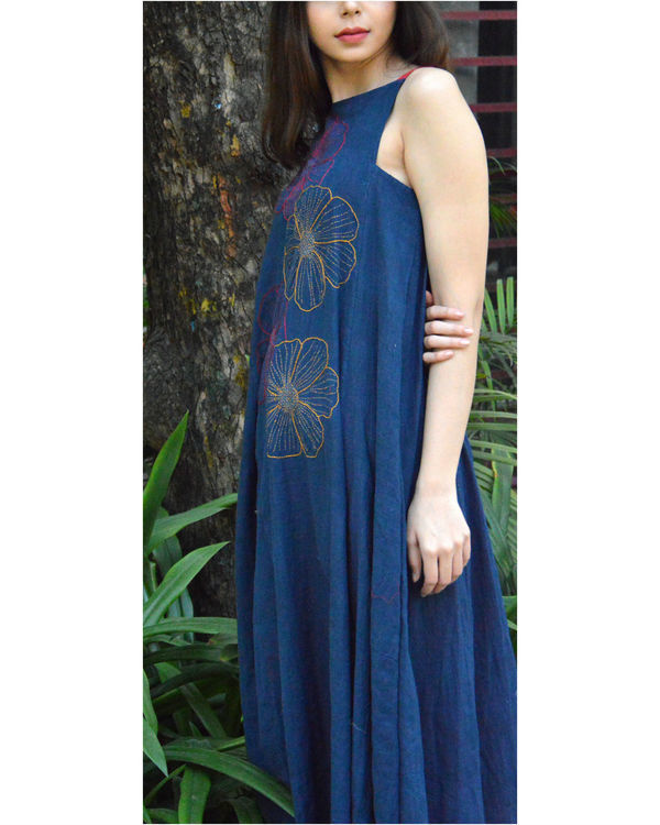 Embroidered indigo maxi dress 2