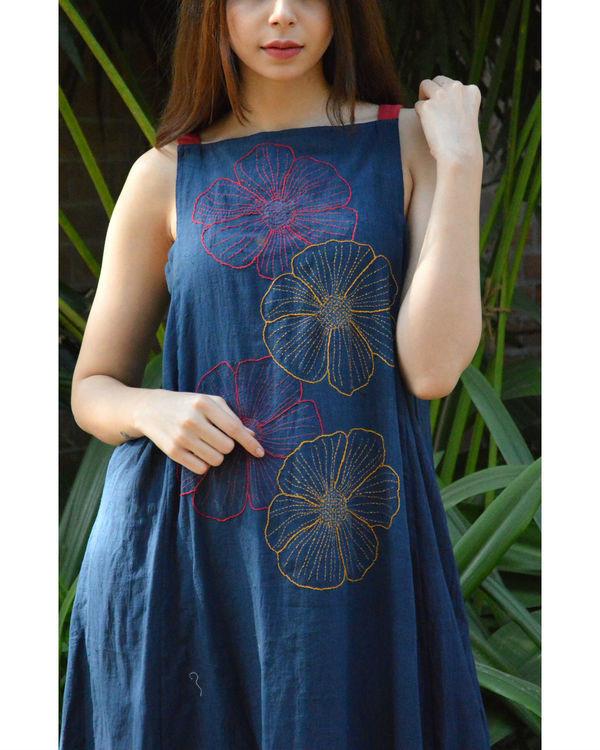 Embroidered indigo maxi dress 2