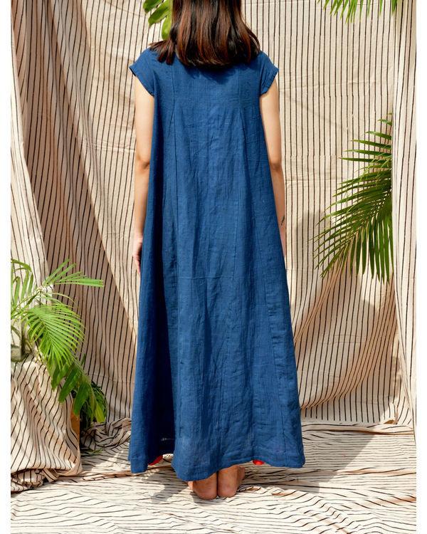 Indigo boat neck maxi dress 1