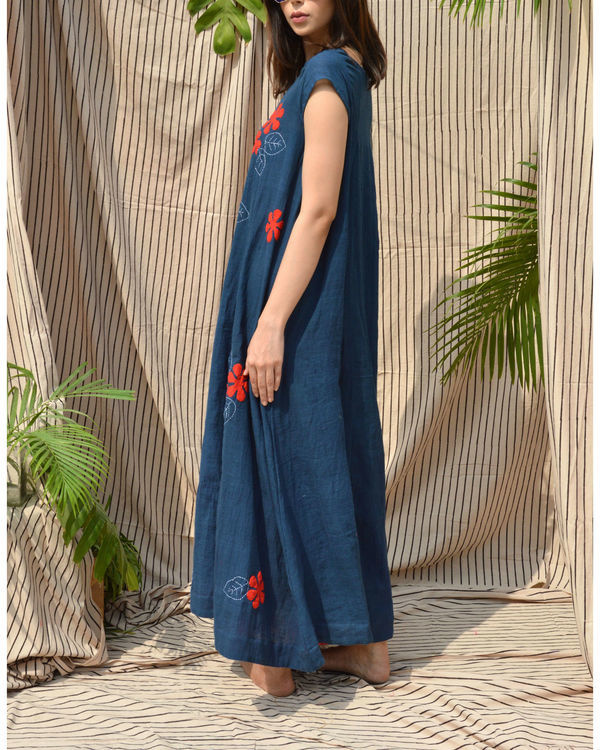 Indigo boat neck maxi dress 2