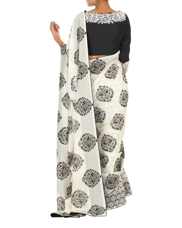 Embroidered Black and white chanderi sari with blouse 3