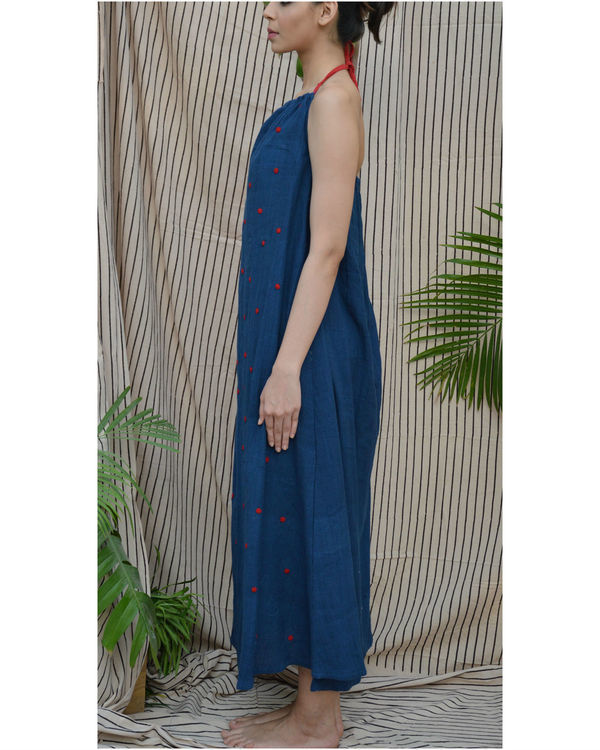 Indigo polka maxi dress 1