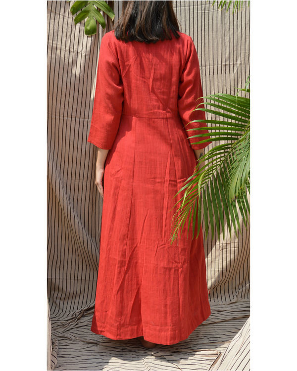 Red khadi collared jacket 1