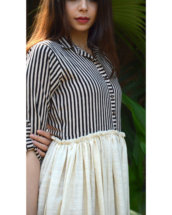 Striped Yoke Khadi Frock 3