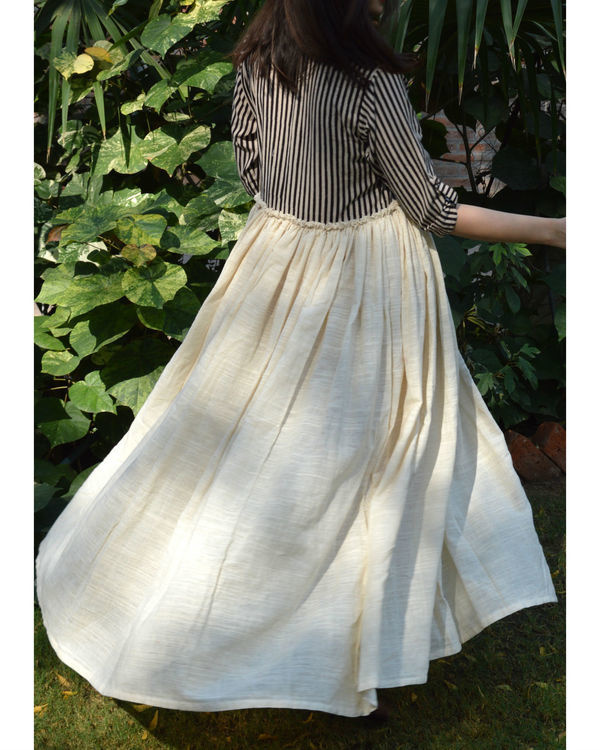 Striped Yoke Khadi Frock 1