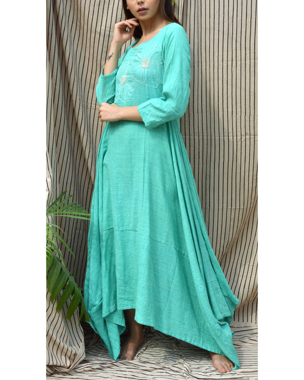 Sea green embroidered maxi dress 2