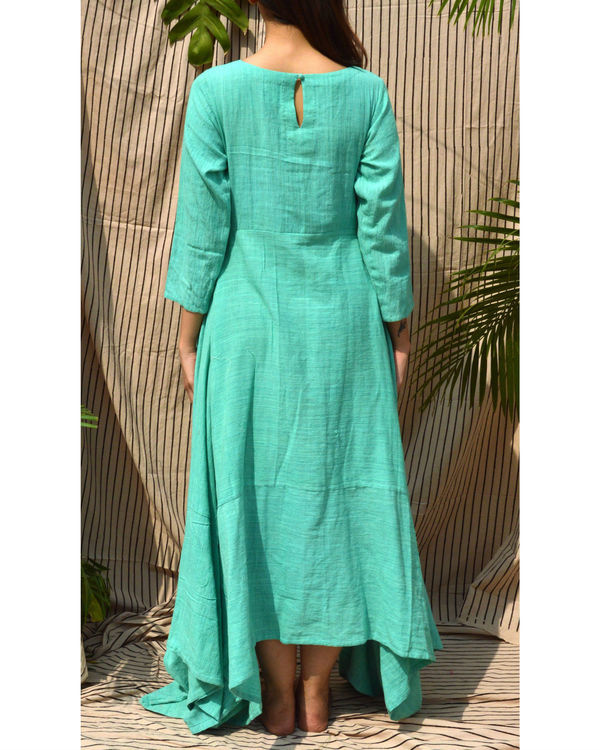 Sea green embroidered maxi dress 1