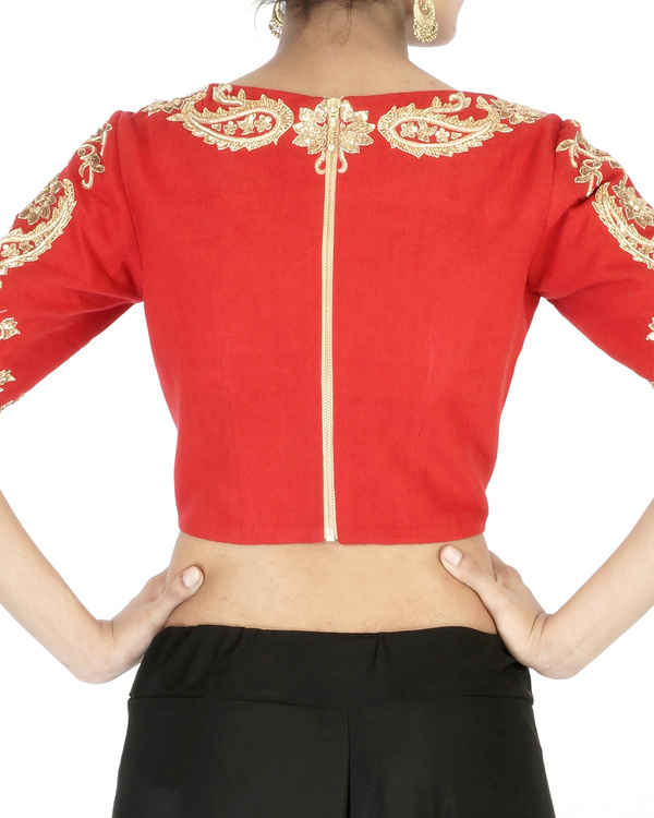 Red elbow sleeves embroidered crop top 1
