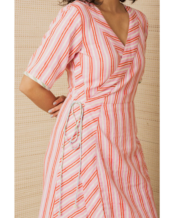 Pink Cotton Wrap Dress 2