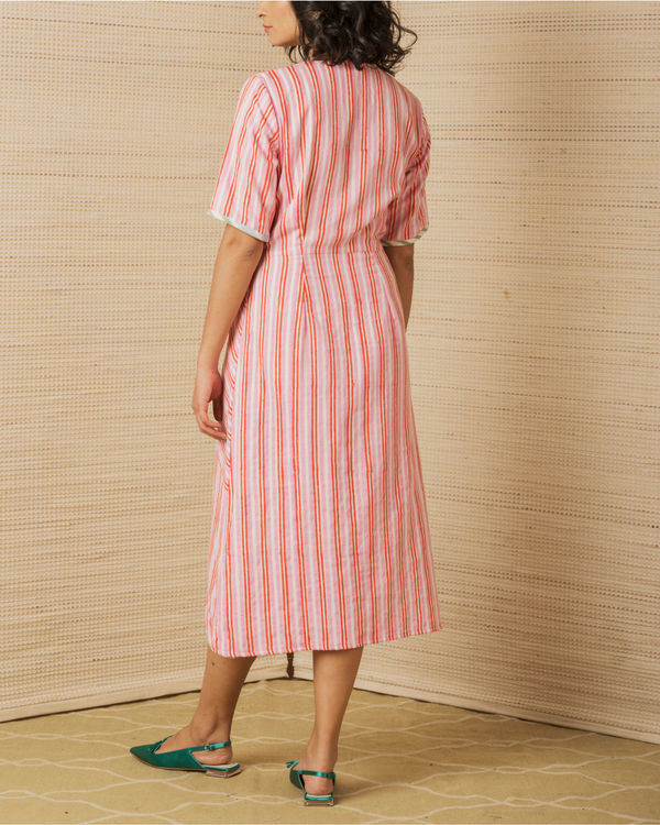 Pink Cotton Wrap Dress 1