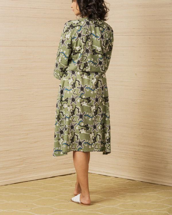 Moss Green Day Dress 1