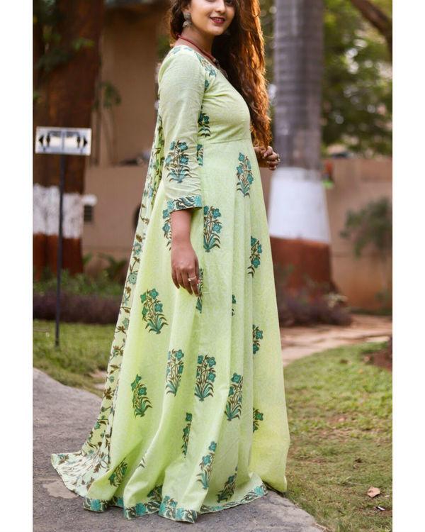 Green Block Print Anarkali Set 2