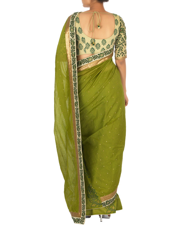 Green chanderi sari with embellished blouse 3