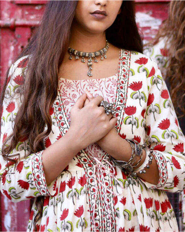 Red Lotus Print Dress 1