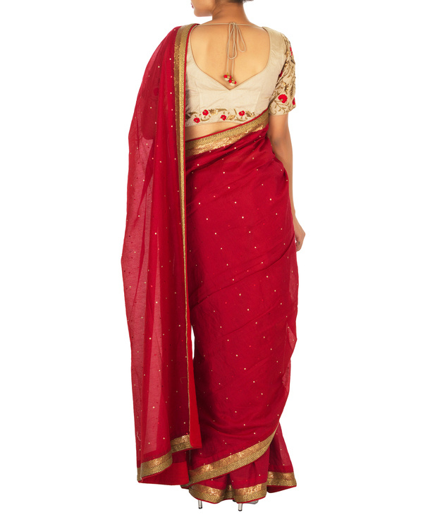 Red and beige chanderi sari 3