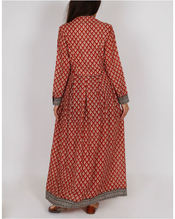 Red Kalidar Peshwaza Dress 1