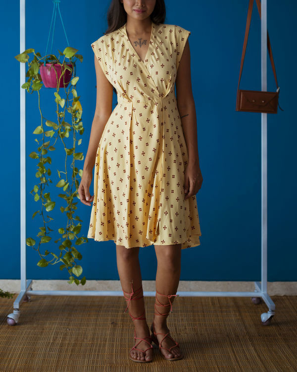 Yellow Pleated Brunch Dress 3