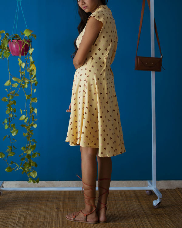 Yellow Pleated Brunch Dress 2