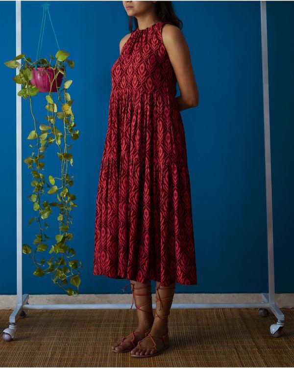 Red Drawstring Neck Midi Dress 3
