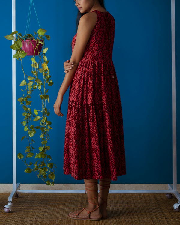 Red Drawstring Neck Midi Dress 2