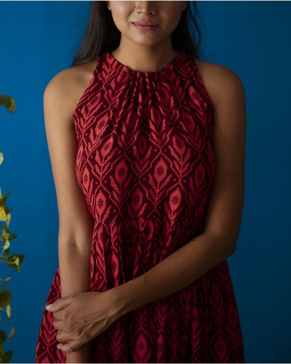 Red Drawstring Neck Midi Dress 1