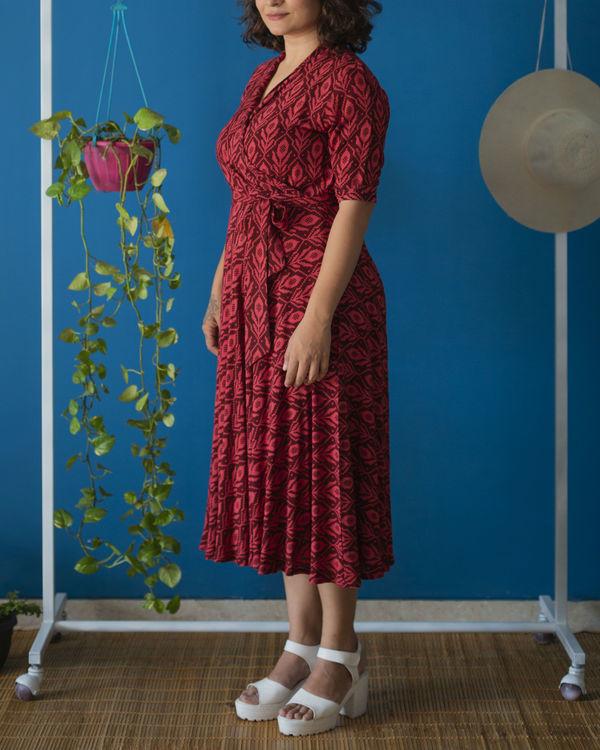 Wine Red Wrap Midi Dress 3