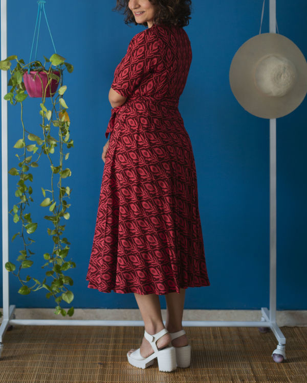 Wine Red Wrap Midi Dress 2
